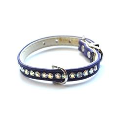 Jackie O Single Row Vegan Dog Collar  - Purple