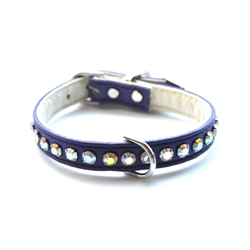 Ashley Crystal Vegan Dog Collar- Purple