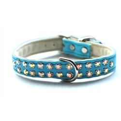 Charlotte Double Row Vegan Collar_Teal with AB crystals