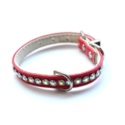 Jackie O Single Row Vegan Dog Collar  - Fire Engine Red