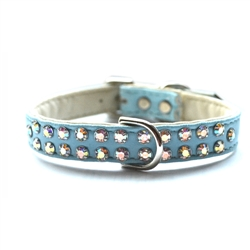 Charlotte Double Row Vegan Dog Collar_Robins Egg