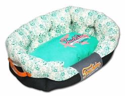 Turquoise Touchdog Floral-Galore Ultra-Plush Rectangular Rounded Designer Dog Bed