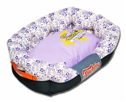 Lavender Touchdog Floral-Galore Ultra-Plush Rectangular Rounded Designer Dog Bed