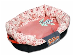 Red Touchdog Floral-Galore Ultra-Plush Rectangular Rounded Designer Dog Bed
