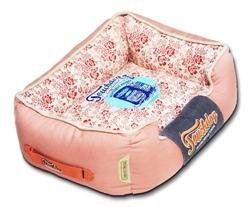 Pink Touchdog Floral-Galore Vintage Printed Ultra-Plush Rectangular Designer Dog Bed