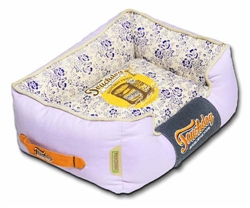 Lavender Touchdog Floral-Galore Vintage Printed Ultra-Plush Rectangular Designer Dog Bed