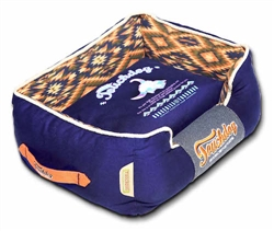 Midnight Blue Touchdog 70'S Vintage-Tribal Throwback Diamond Patterned Ultra-Plush Rectangular-Boxed Dog Bed