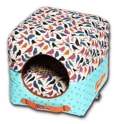 Touchdog Chirpin-Avery Convertible And Reversible Squared 2-In-1 Collapsible Dog House Bed