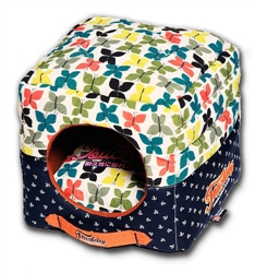 Touchdog Butterfly Convertible And Reversible Squared 2-In-1 Collapsible Dog House Bed