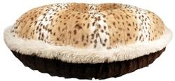 Leopard & Chocolate Mink with Cream Shag Welt Round Bed