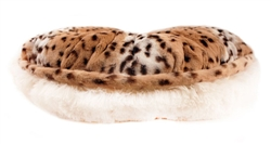 Snow Leopard & Cream Shag Round Bed