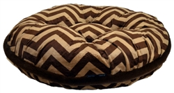 Chevron Print with Brown Fur Welt Round Bed