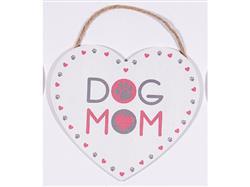 "8.75"" x 8"" Heart Shape Sign - Dog Mom"