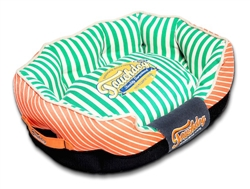 Orange Touchdog Neutral-Striped Ultra-Plush Rectangular Rounded Designer Dog Bed