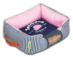 Navy Blue Touchdog Polka-Striped Polo Easy Wash Rectangular Fashion Dog Bed