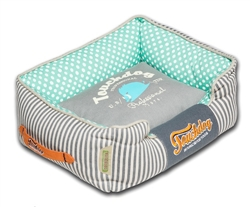 Teal Touchdog Polka-Striped Polo Easy Wash Rectangular Fashion Dog Bed