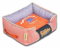 Orange Touchdog Polka-Striped Polo Easy Wash Rectangular Fashion Dog Bed