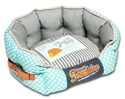 Baby Blue Touchdog Polka-Striped Polo Rounded Fashion Dog Bed