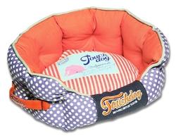 Orange Touchdog Polka-Striped Polo Rounded Fashion Dog Bed