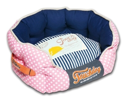 Pink Touchdog Polka-Striped Polo Rounded Fashion Dog Bed
