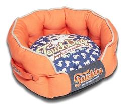 Orange Rabbit-Spotted Premium Rounded Dog Bed