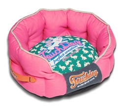 Pink Rabbit-Spotted Premium Rounded Dog Bed