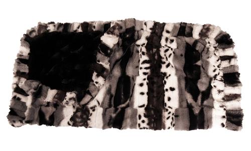 Black & White Exotic Fur front & ruffles with Black Mink Back Blanket