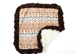 Snow Leopard and Cream Shag with Brown Ruffles Blanket