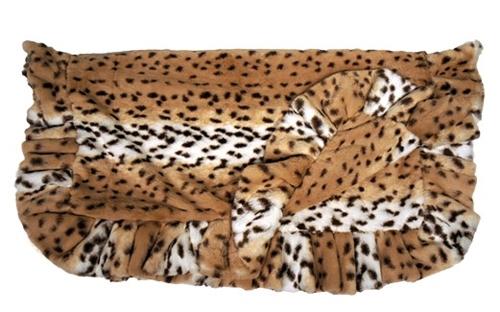 Snow Leopard with Snow Leopard Ruffles Blanket