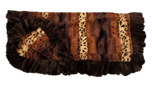 Exotic Mix Print with Brown Ruffles Blanket