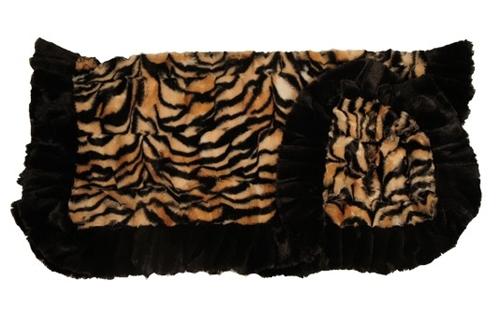 Metro Print with Black Ruffles Blanket