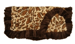 Giraffe Print with Brown Ruffles Blanket