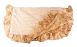 Faux Rabbit Fur & Cream Crocodile Print Ruffled Blanket