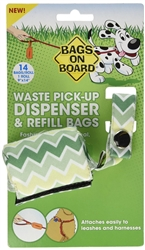 Fashion Dispenser Green Chevron Print (14 bags)