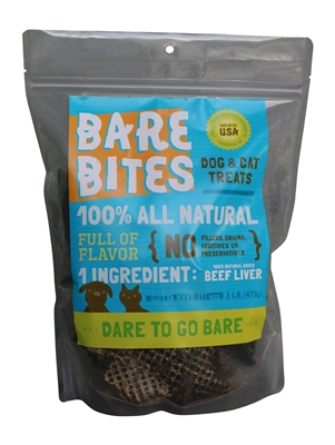 1 lb. Bare Bites Beef Liver Treats Pouch