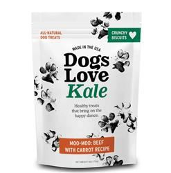 Dogs Love Kale Moo-Moo (Organic Beef & Carrot) Wheat & Grain Free 6oz. Resealable bags
