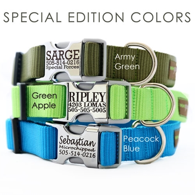 Metal Buckle Engraved Personalized Webbing Dog Collar *21 colors