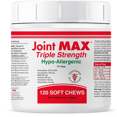 Joint MAX Triple Strength Hypo Allergenic (120 Soft Chews) HA - Arthritic Support
