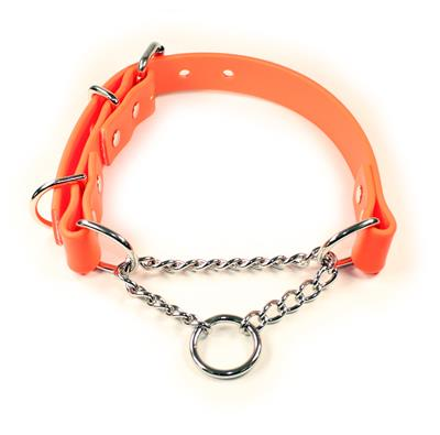 Orange SoftGrip Adjustable Martingale Chain Collar