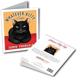 Whatever Kitty GREETING CARD (black cat) 6 cards