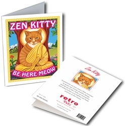 Zen Kitty GREETING CARD (orange tabby) 6 cards