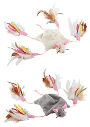 Cutie Mouse feathered crinkle toy by Petlinks