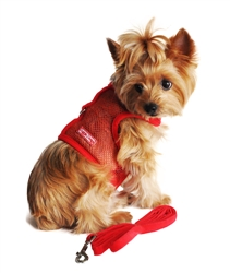 Red Cool Mesh Velcro Dog Harness with Leash