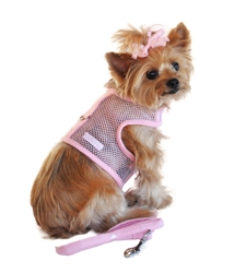 Pink Cool Mesh Velcro Dog Harness with Leash