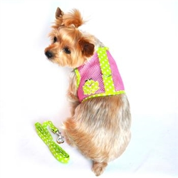 Frog Green Dot and Pink Cool Mesh Velcro Dog Harness with Leash