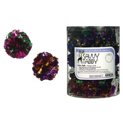 SAVVY TABBY - CANISTER OF 45ct Mylar crinkle Balls (CAT TOY)