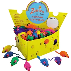 ZANIES RAINBOW FURRY MICE - Cheese Wedge Display Box 60 ct