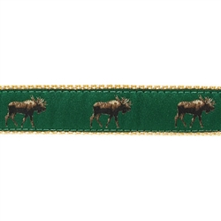 "Moose on Dark Green - 1.25"" Collars, Leashes and Harnesses"