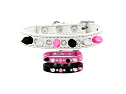 Crystal with Black, White and Bright Pink Spikes Dog Collar