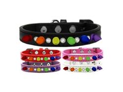 Crystal with Rainbow Spikes Dog Collar